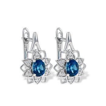 14KW London Blue Topaz & Diamond Earrings