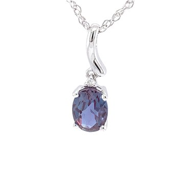14KW Cr. Alexandrtie & Diamond Necklace
