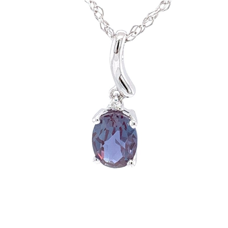 Bennett's Jewels 14KW Cr. Alexandrtie & Diamond Necklace
