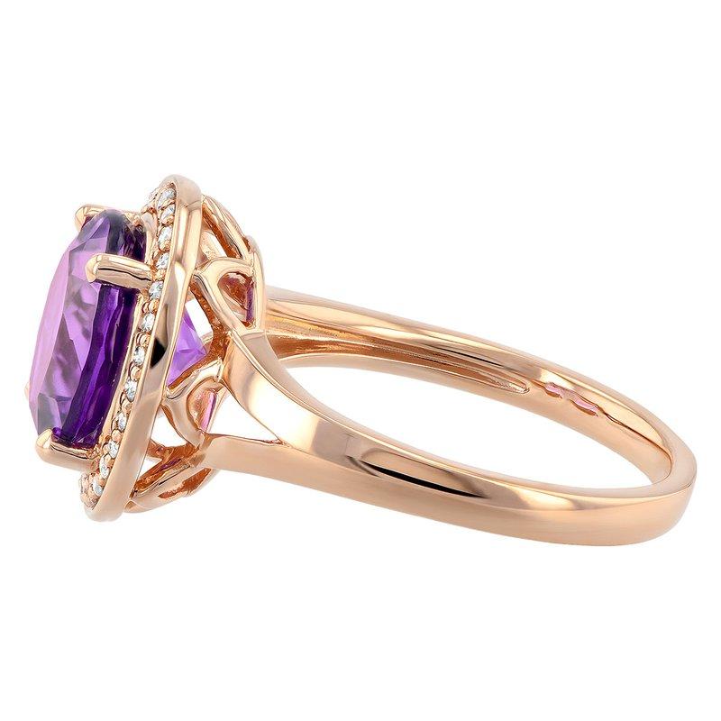 Bennett's Jewels 14KW Amethyst & Diamond Ring