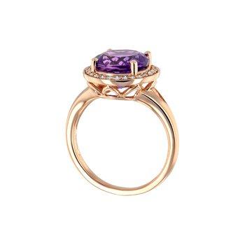 14KW Amethyst & Diamond Ring