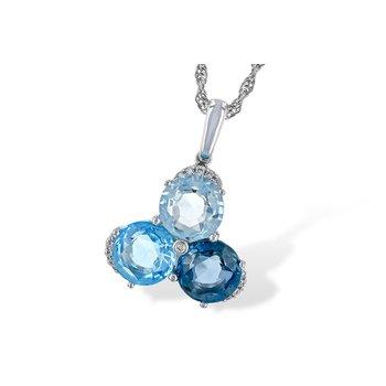 14KY Blue Topaz & Diamond Necklace