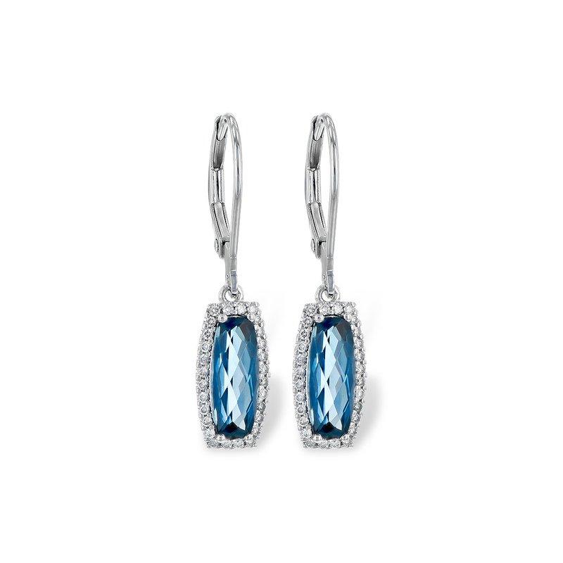 Bennett's Jewels 14KW London Blue Topaz & Diamond Earrings