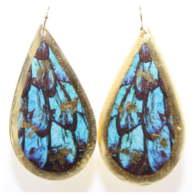 Bennett's Jewels 22KY Turquoise Butterfly Teardrop