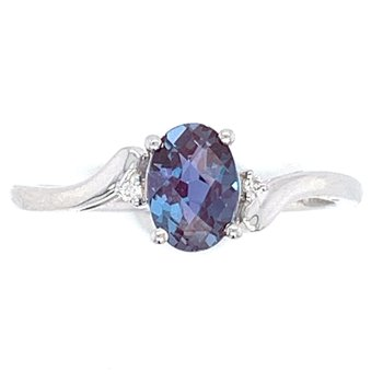 14KW CR. Alexandrite & Diamond Ring
