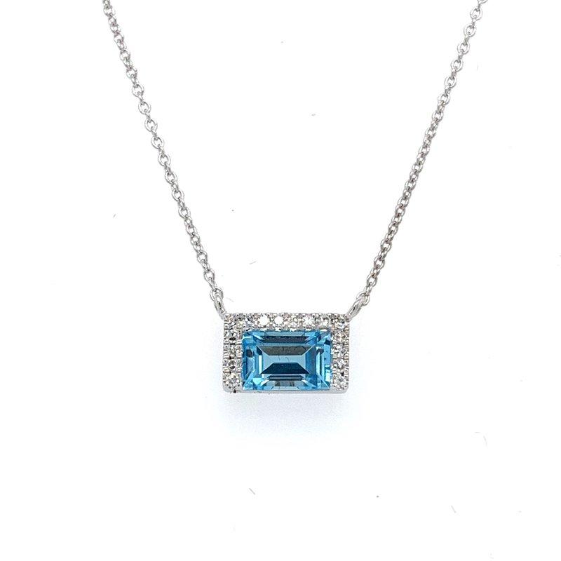 Bennett's Jewels 14KW Blue Topaz & Diamond Necklace