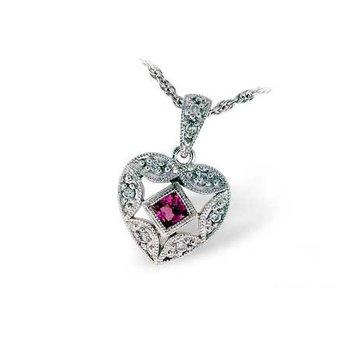 14KW Pink Sapphire & Diamond Necklace