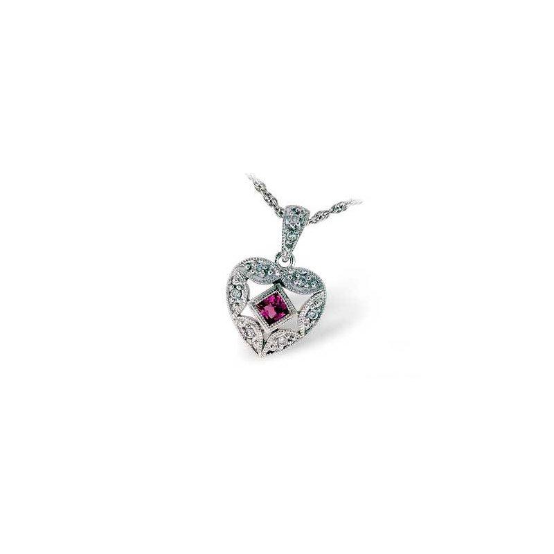 Bennett's Jewels 14KW Pink Sapphire & Diamond Necklace