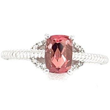 14KW Pink Tourmaline & Diamond Ring