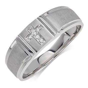 10K White Gold Cross Ring