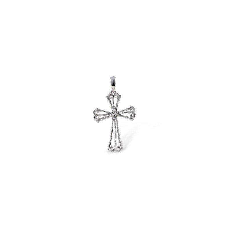 Bennett's Jewels 14KW Cross Diamond Necklace