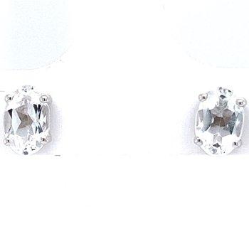 14KW White Topaz Earrings