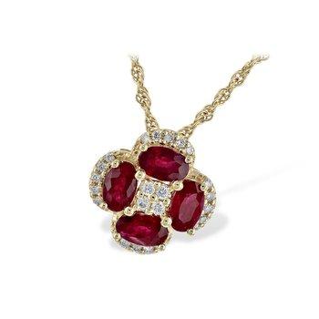 14KW Ruby & Diamond Necklace
