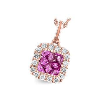 14KR Pink Sapphire & Diamond Necklace