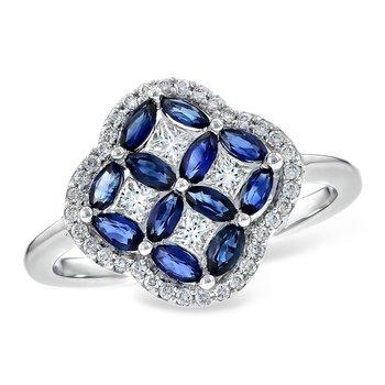 14KW Blue Sapphire & Diamond Ring