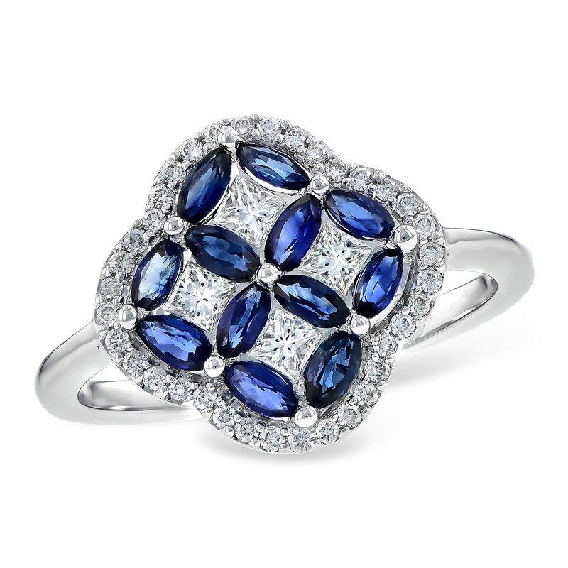 Bennett's Jewels 14KW Blue Sapphire & Diamond Ring