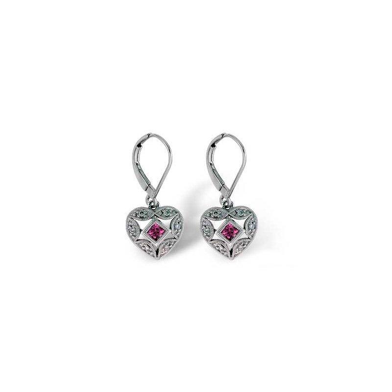 Bennett's Jewels 14KW Pink Sapphire & Diamond Earrings