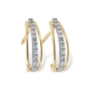 14KTT Diamond Half Hoops