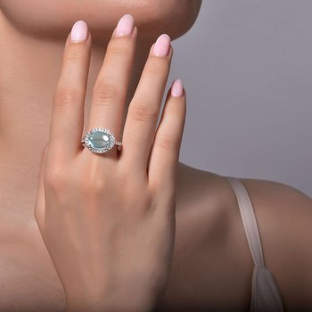 Sterling Silver Platinum Blue Topaz Ring