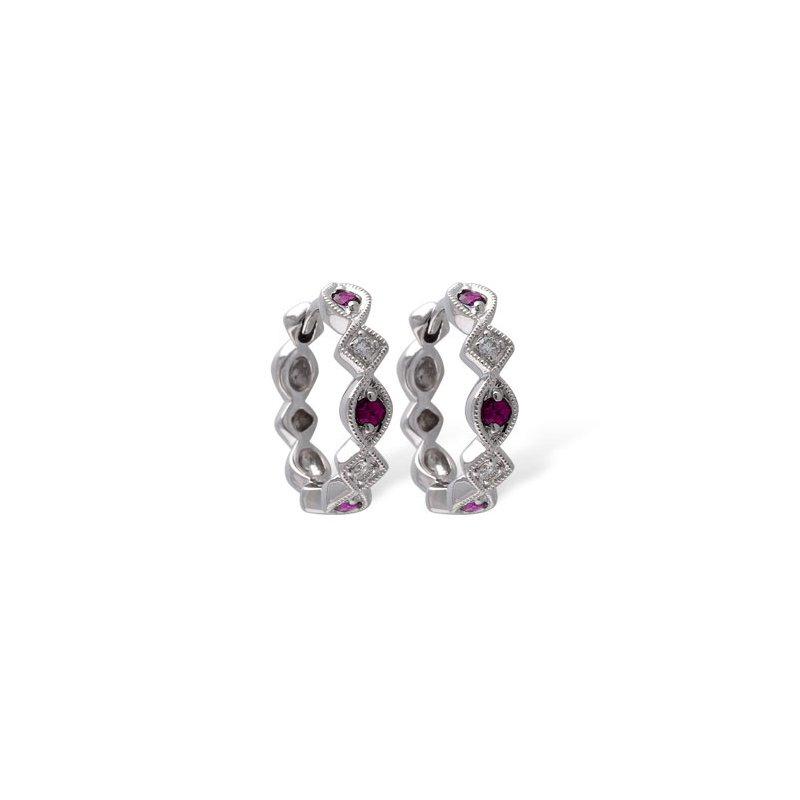 Bennett's Jewels 14KW Ruby & Diamond Earrings
