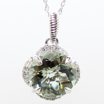 14KW Green Amethyst & Diamond Necklace