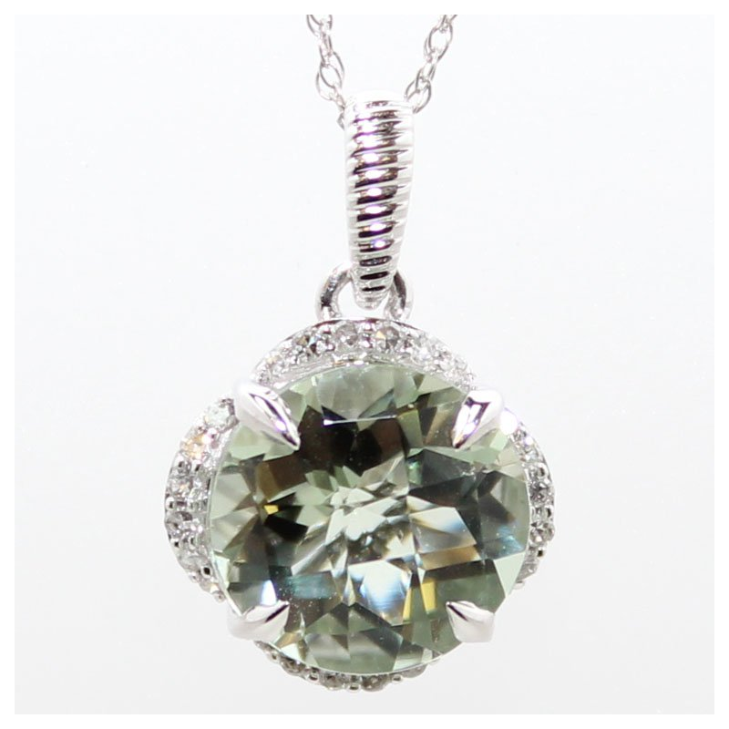 Bennett's Jewels 14KW Green Amethyst & Diamond Necklace