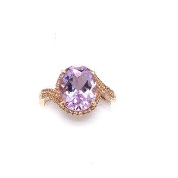 10K Rose Gold Amethyst Ring