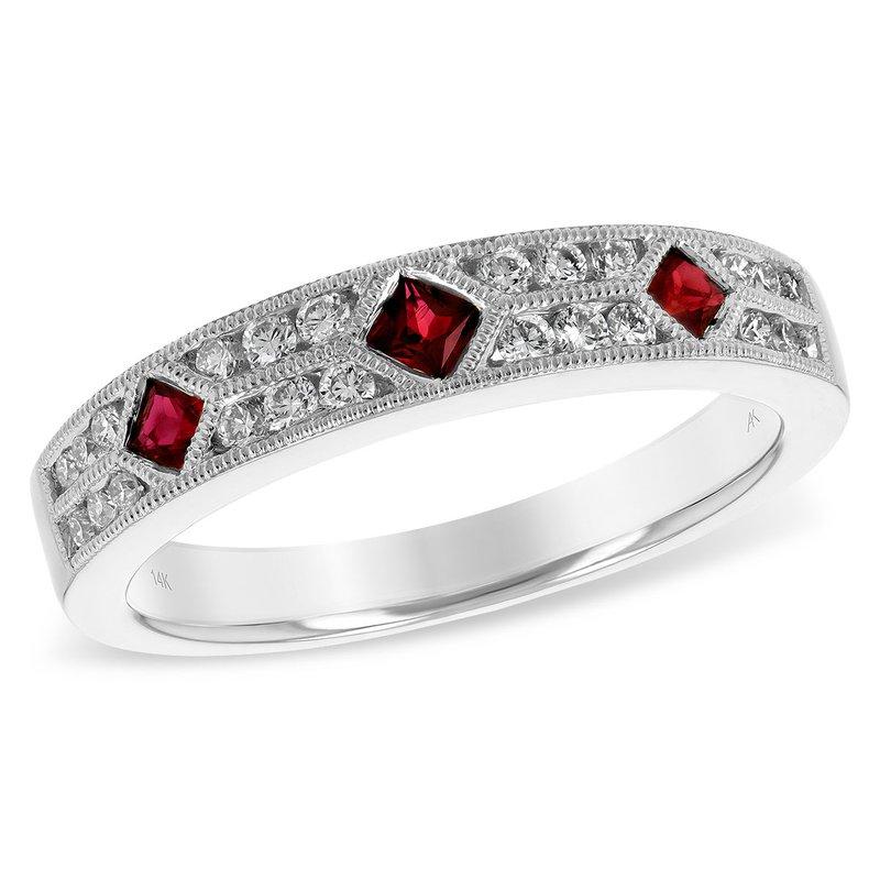 Bennett's Jewels 14KW Ruby & Diamond Band