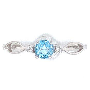 14KW Blue Topaz & Diamond Ring