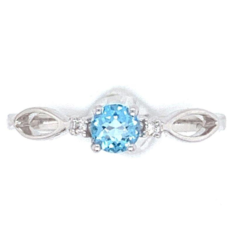Bennett's Jewels 14KW Blue Topaz & Diamond Ring