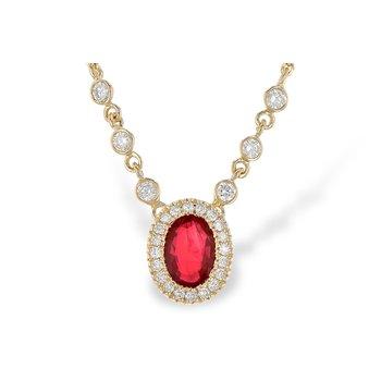 14KY Ruby & Diamond Necklace