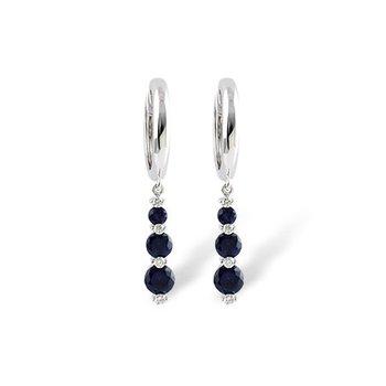 14KW Blue Sapphire & Diamond Earrings