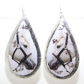 Sterling Silver White Horse Earrings