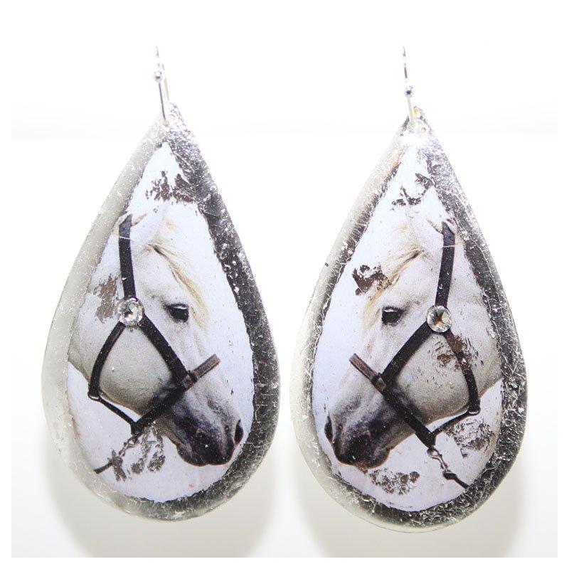 Bennett's Jewels Sterling Silver White Horse Earrings