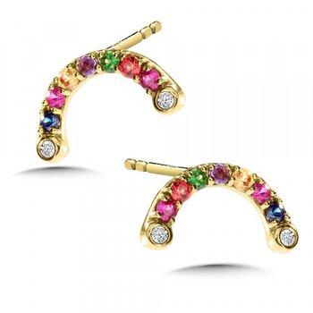 14KW Multi-Colored Gem Earrings