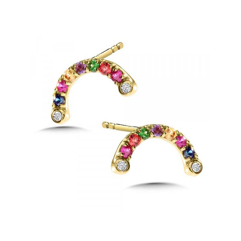 Bennett's Jewels 14KW Multi-Colored Gem Earrings