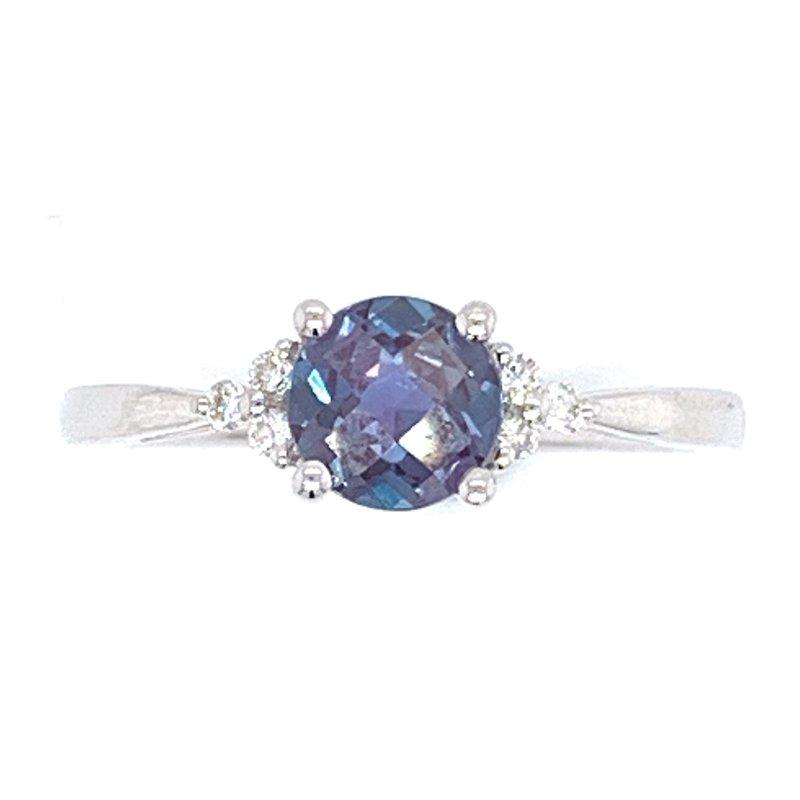 Bennett's Jewels 14KW Cr. Alexandrite & Diamond Ring