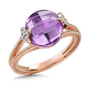 14KR Amethyst & Diamond Ring