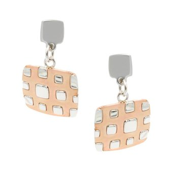Sterling Silver RG PL Square Earrings