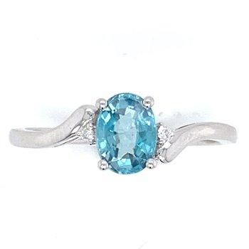 14KW Blue Zircon & Diamond Ring