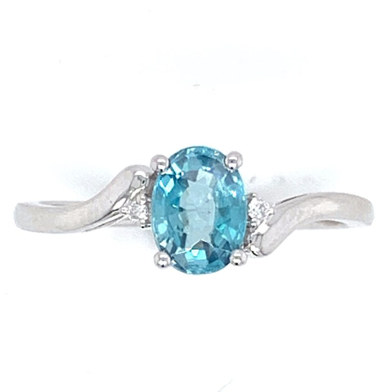 Bennett's Jewels 14KW Blue Zircon & Diamond Ring
