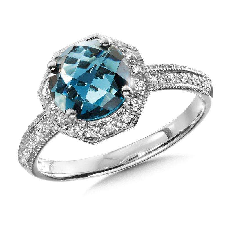 Bennett's Jewels 14KW London Blue Topaz & Diamond Ring