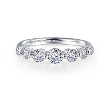 Sterling Silver Platinum Simulated Diamond Ring
