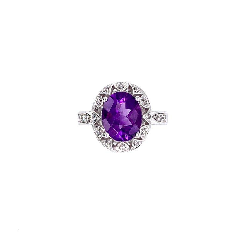 Bennett's Jewels 14K White Gold Amethyst & Diamond Ring