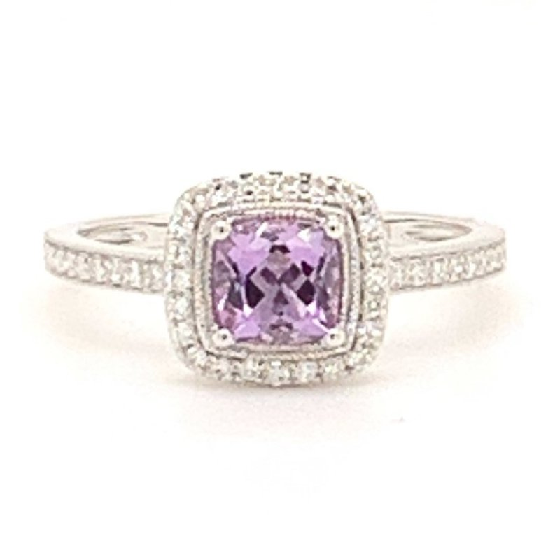 Melancon Jewelers Amethyst Ring with Diamond Halo