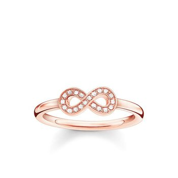 "Sterling Silver Rose Plated Diamond Ring ""Infinity"