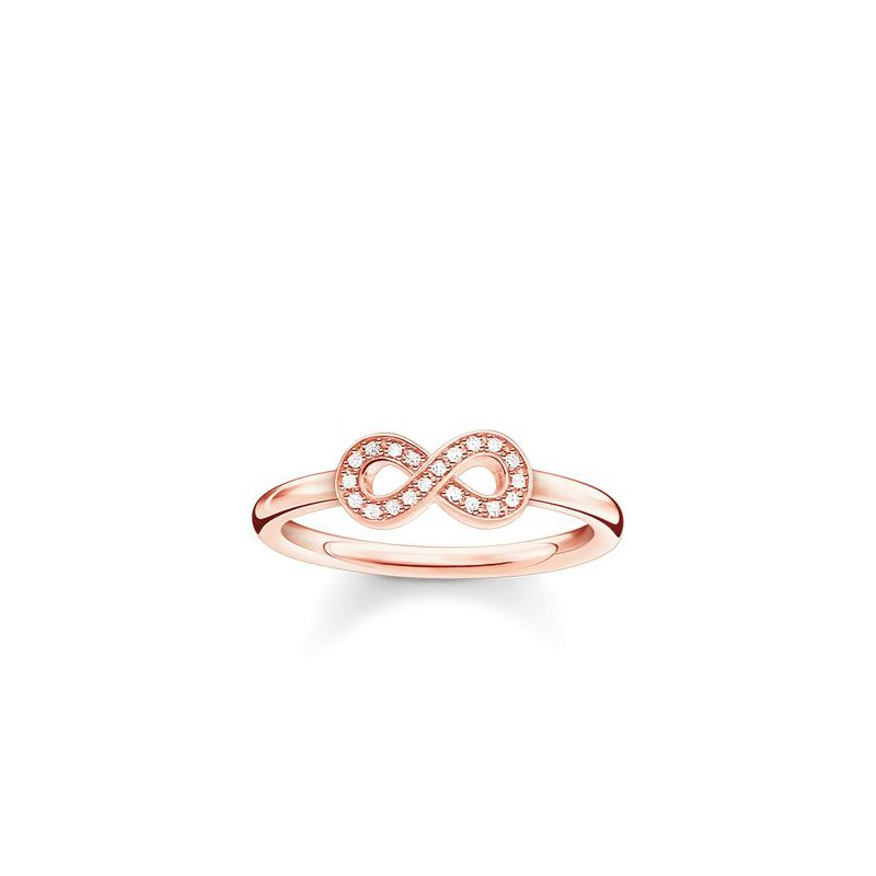 """Thomas Sabo Sterling Silver Rose Plated Diamond Ring """"Infinity"""