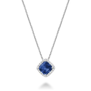 Created Sapphire And Diamond Pendant
