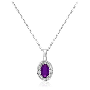 Oval Amethyst & Diamond Halo Pendant