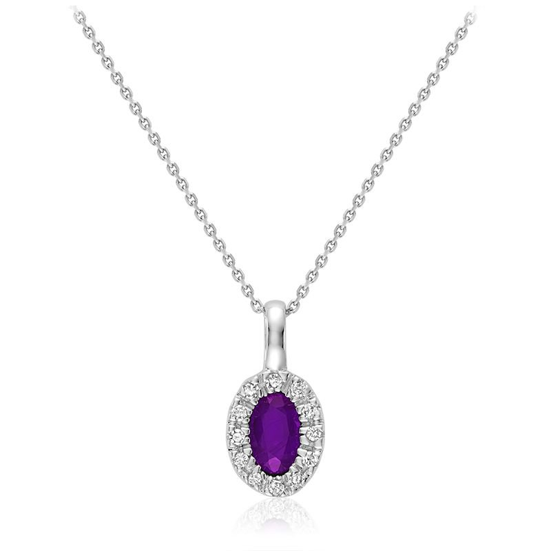 RNB Bijoux Jewellery Oval Amethyst & Diamond Halo Pendant